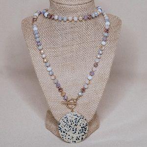 "Dalmatian Disc Linear Necklace 38"""